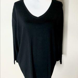 LL Bean Women's Plus Size 3X Black Knit Top V-Neck